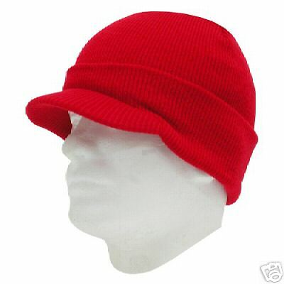 RED VISOR BEANIE KNIT JEEP CAP SKULL SKI CAPS HAT HATS