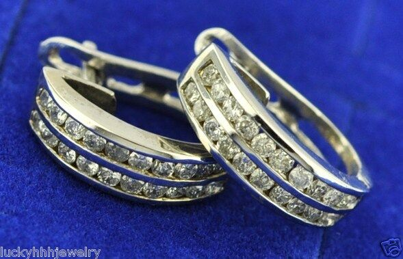 02 ct white gold ladies DIAMOND EARRING 14k 2 ROWS